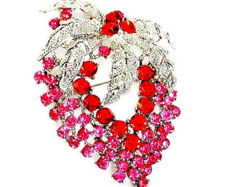 Red and Pink Large Strawberry Figural Brooch