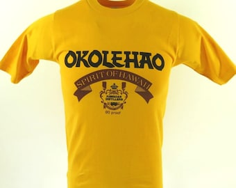 Vintage 80s Okolehao Spirit of Hawaii T-Shirt S Deadstock Hawaiian Distillery [H77S_0-7]