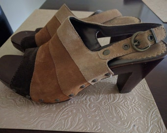 multi colored striped suede leather platform shoes. 8 1/2