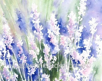 Lavender, WATERCOLOR PAINTING, fine art giclée, purple, pink, green, flowers, Arizona