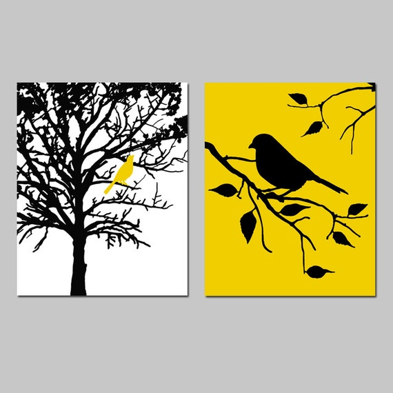 Birds and Trees Set of Two 8x10 Prints Bathroom Nursery