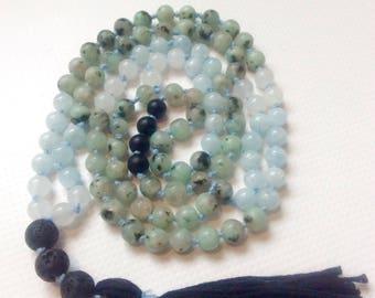 Kiwi Jasper/Aquamarine/White Jade/lave Pierre diffuseur perles/noir Onyx/aromathérapie Style collier/Mala/méditation collier/Essential Oil /
