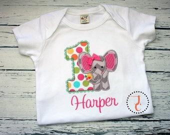 Girls Birthday Shirt - 1st Birthday, Elephant Shirt, Jungle Birthday, Birthday Dress, Elephant Birthday Shirt, Zoo Birthday, Twin Birthday