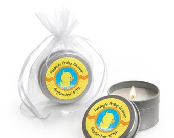Ducky Duck Candle Tin Baby Shower or Birthday Party Favors - 12 Count