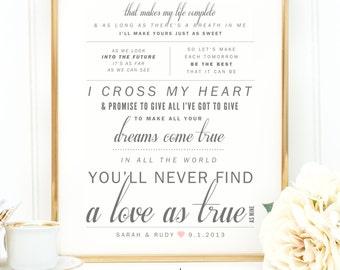 "Light Gray, Blush Pink, George Strait ""I Cross My Heart"" - Valentine's, Wedding Gift, Paper Anniversary Gift, Song Lyrics, Art Print"