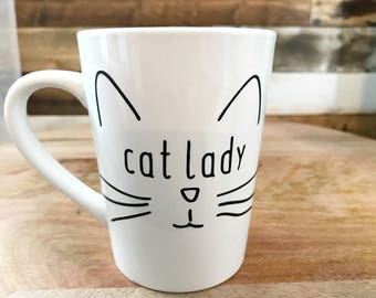 Cat Lady Cute Coffee Mug Cat Lover Coffee Lover Coffee Mug