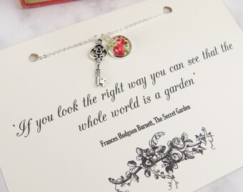 The Secret Garden Key Necklace - Gift for Book Lover - Rose Jewellery - Silver Key Necklace - Gardener Gift - Literature Quote Jewelry