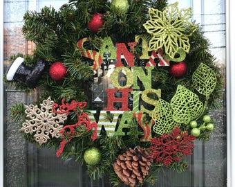 Santa's on His Way wreath