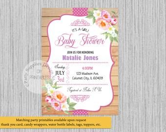 PRINTED or Digital Cute Peonies Watercolor Baby Shower Invitations, Watercolor Flowers Party Supplies, Party Printables, Digital Invitations