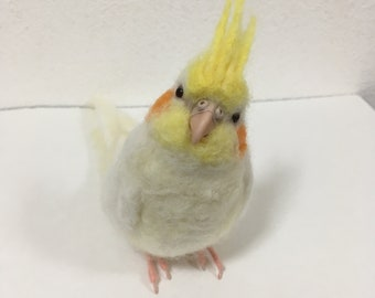 Needle felted Cockatiel ,Parrot Parakeet Companion bird