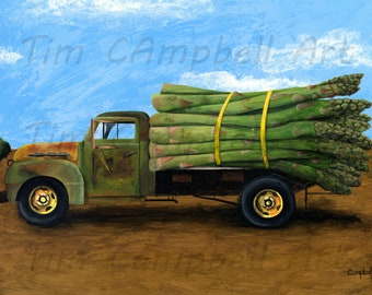 Asparagus Truck Giclee Print by Tim Campbell