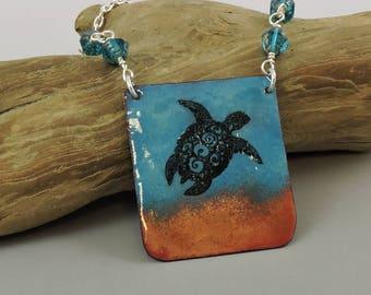 Enameled Copper Sea Turtle Necklace, Copper Necklace, Metalwork Jewelry, Sea Turtle Jewelry, Beach Necklace, Ocean Jewelry