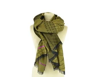 SALE 40% OFF : Anni olive - Woman's scarf - La Tribu des Oiseaux
