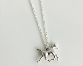 Silver Horse Necklace, Pony Necklace, Racing Horse Necklace, Horse Jewelry, Matt Silver Horse Charm, Gift idea, Gift for Horse Lover