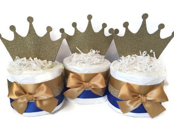 Set of 3 Mini Diaper Cakes in Royal Blue and Gold, Prince Theme Baby Shower Decorations