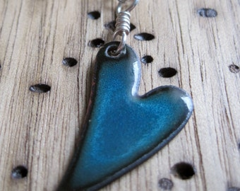 Heart Necklace, Enamel Heart Jewelry, Blue Heart Pendant, Copper Enamel Jewelry
