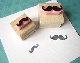 Moustache Rubber Stamp - Pair of Mini Moustaches Rubber Stamps - Gift for Men - Beard Lover - Hipster Present - Mens Grooming