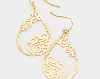 Filigree Metal Teardrop Hoop Dangle Earrings - Gold Tone