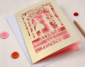 Personalised Papercut Couple Engagement Card, Laser Cut Congratulations On Your Engagement Card, sku_couple