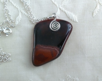 Black and brown tiger eye and sterling pendant necklace. Earth tones/ Rustic Jewelry