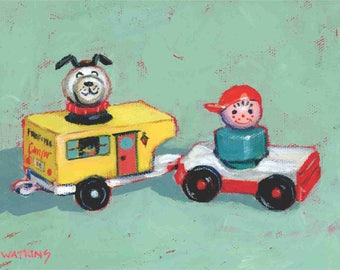 Going camping!  With Vintage Fisher Price Little People boy, dog and trailer. Matted print of an original acrylic painting by Greta Watkins