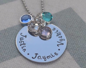 Personalized Hand Stamped Name Necklace w/ Birthstones  For Mom - Grandma - Sister - Wife - Girlfriend - Friends - Mothers Day - Gift