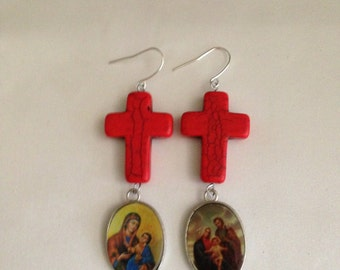 Christian Coral Howlite Cross Earrings With Religious Medals