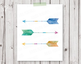 Arrow print art   Arrows watercolor printable art nursery tribal wall decoration   instant download