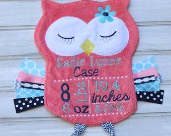 Owl keepsake etsy personalized baby birth info coral snuggle owl baby keepsake birth stats negle Choice Image