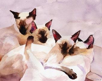 Print Siamese Cat Art from Watercolor Painting Seal Point Chocolate Cat Lover unique  gift custom large huge big hand painted