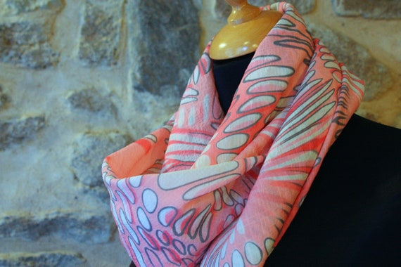 Promo Studio space. Viscose white bubble pink and gray, square scarf shawl. Sale empty workshop