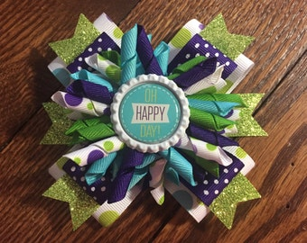 Purple/Lime Green Korker Stacked Hair Bow