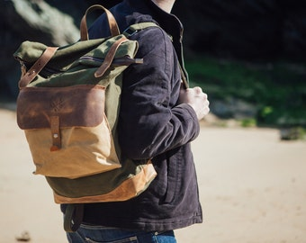 Waxed Canvas Trendy Backpacks / Rolltop Brown Leather Backpack / Waxed Vintage Canvas Rucksack Backpack/ Laptop Backpack / Canvas Rucksacks