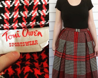 50s Plaid Pleated Skirt Toni Owen Sportswear Box Pleat Red Ivory Black Vintage 24 Waist XS