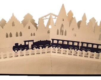 3D SVG PDF Pop up Layered card Christmas train