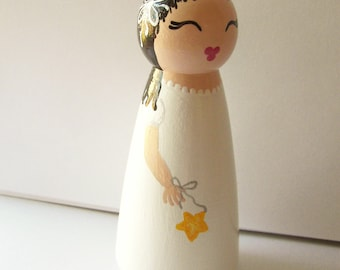 Hand Painted Love Boxes Christmas Angel Birthday Fairy White Wood Peg Doll