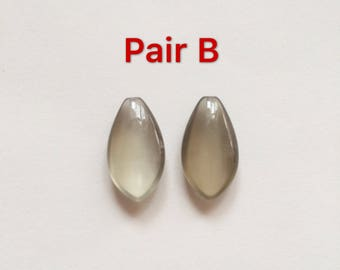 Grey Moonstone Half Top Drilled Marquise Drops 10x18x5 mm One Pair H5828