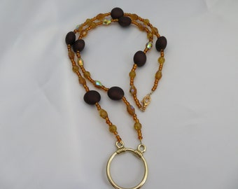 Brown and Gold Eyeglass Necklace