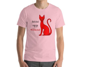 2016 Autisticat says go #RedInstead Autistic Acceptance Cat Short-Sleeve Unisex T-Shirt