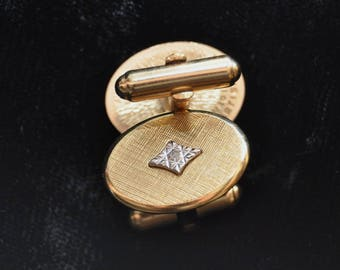 "Vintage Men's Cuff Links 1/20th gold filled Artisan ""diamond"" accent Brushed Weave Surface 60s Suit Accessory Mens Gift Professional"