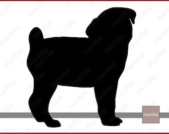 Pug Silhouette Pug Svg Pug Cutting File Pug Vector Svg File Cricut Pug Svg Dog Clipart Pug Clip Art Pug Png