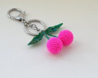 Designer Bag Charm Pom pom Keychain Womens gift Designer accessories Pink key chains for women Handbag charm Cherry Handmade