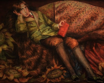 Portrait of Oscar Wilde - Original Oil Painting in Antique Frame