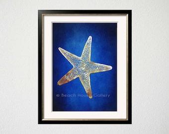 Blue Starfish Art, Indigo Blue Cobalt Gold Art, Starfish Wall Art, Blue Gold, Seastar Art, Nautical Art, Beach House Gallery, Starfish Art