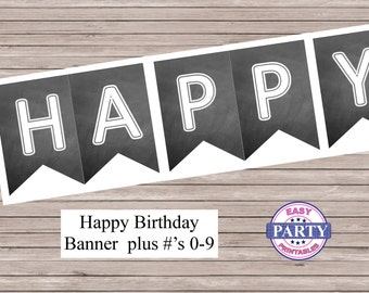 Chalkboard Birthday Banner, Instant Download, Happy birthday banner, printable banner, chalkboard, any occasion, party printables