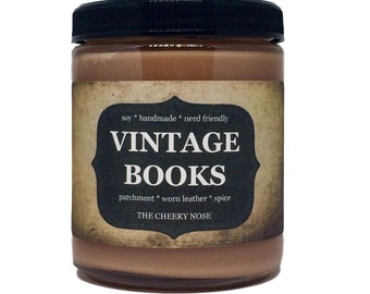 Vintage Books - 8 oz Scented Soy Candle - Old Books Candle - Book Candle - Gift Under 15 - Sandalwood Candle - The Cheeky Nose - Soy Candle