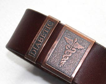 Diabetic bracelet, medical bracelet - mens leather cuff, diabetic alert