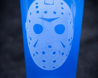 Friday the 13th Jason Vorhees Etched Pint Glass.