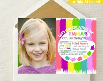 Painting Party Photo Invitation // Art Party Photo Invitation // Craft Invitation // Paint Invitation // Art Birthday Party // Craft Invite