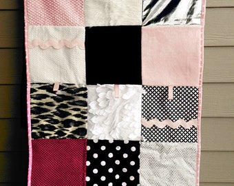 Sensory Quilt. Sensory Blanket. Textured Blanket. Tummy Time Mat. Baby Girl Quilt. High Contrast. Black, White, and Pink.